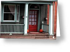 Red Door In Lambertville Greeting Card by John Rizzuto