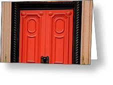 Red Door on New York City Brownstone Greeting Card by Amy Cicconi