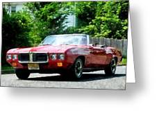 Red Firebird Convertible Greeting Card by Susan Savad