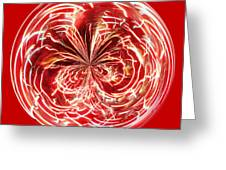 Red Fireworks Orb Greeting Card by Paulette Thomas