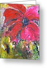 Red Flower - Abstract Painting Greeting Card by Ismeta Gruenwald