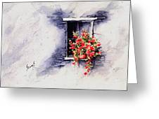 Red Flowers Greeting Card by Sam Sidders