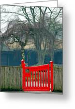 Red Gate Greeting Card by Susan Tinsley
