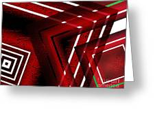 Red Geometric Design Greeting Card by Mario  Perez