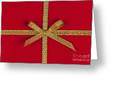 Red Gift With Gold Ribbon Greeting Card by Elena Elisseeva