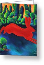 Red Hare Silhouette Greeting Card by MarLa Hoover