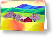 Red Hill Barn Greeting Card by Nancy Jolley