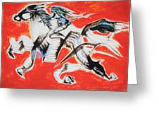 Red Horse And Rider Greeting Card by Asha Carolyn Young