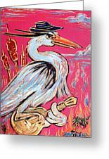 Red Hot Heron Blues Greeting Card by Robert Ponzio