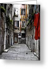 Red In Venice Greeting Card by John Rizzuto