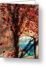 Red Ivy Brickwall Shelburne Falls Massachusetts Greeting Card by Robert Ford