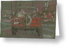 Red Jeep Greeting Card by Donald Maier