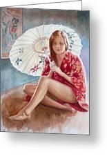 Red Kimono Greeting Card by Tomas OMaoldomhnaigh