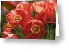 Red Ladies Of Summer Greeting Card by Carol Cavalaris
