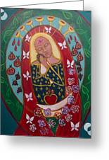 Red Madonna Greeting Card by Havi Mandell