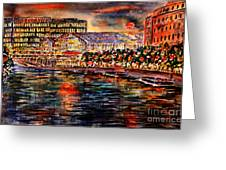 Red Moon Over Berlin II Greeting Card by Alfred Motzer