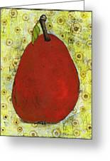 Red Pear Circle Pattern Art Greeting Card by Blenda Studio