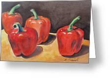 Red Peppers Greeting Card by Melinda Saminski