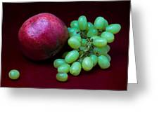 Red Pomegranate And Green Grapes Greeting Card by Alexander Senin