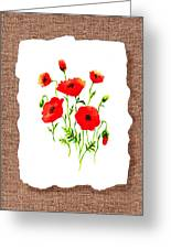 Red Poppies Decorative Collage Greeting Card by Irina Sztukowski
