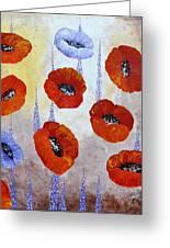 Red Poppies Greeting Card by Georgeta  Blanaru
