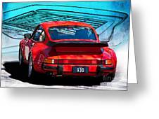 Red Porsche 930 Turbo Greeting Card by Stuart Row
