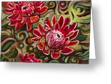 Red Proteas Greeting Card by Jen Norton