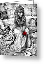 Red Red Rose In Black And White Greeting Card by David Smith