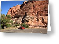 Red Rock And Red Car Greeting Card by Frank Romeo