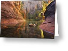 Red Rock Autumn Greeting Card by Peter Coskun