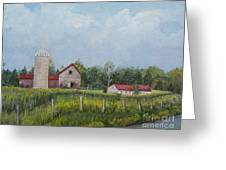 Red Roof Barns Greeting Card by Reb Frost