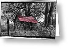 Red Roof Greeting Card by Debra and Dave Vanderlaan