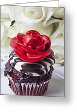 Red Rose Cupcake Greeting Card by Garry Gay