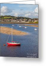 Red Sail Boat Greeting Card by Adrian Evans