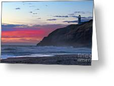 Red Sky At North Head Lighthouse Greeting Card by Robert Bales