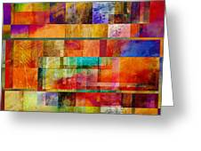 Red Squares Abstract Art Greeting Card by Ann Powell