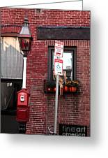 Red Street In Boston Greeting Card by John Rizzuto