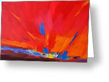 Red Sunset Abstract Greeting Card by Patricia Awapara