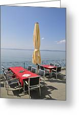 Red Tables Empty Chairs And Blue Sky Greeting Card by Matthias Hauser