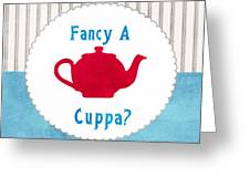 Red Teapot Greeting Card by Linda Woods