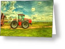 Red Tractor Farm Greeting Card by  Caleb McGinn