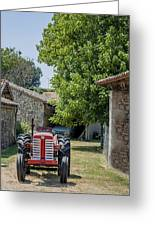 Red Tractor On A French Farm Greeting Card by Georgia Fowler