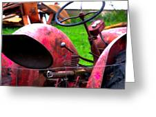 Red Tractor Rural Photography Greeting Card by Laura  Carter