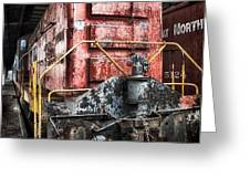 Red Train Greeting Card by Todd and candice Dailey