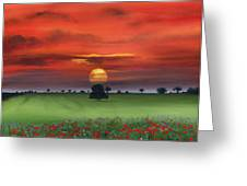 Red Tuscan Sunrise With Poppy Field Greeting Card by Cecilia  Brendel