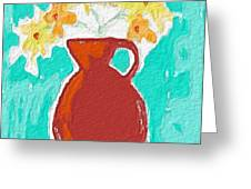 Red Vase Of Flowers Greeting Card by Linda Woods