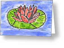 Red Waterlily Greeting Card by Lynn-Marie Gildersleeve