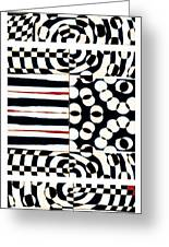 Red White Black Number 4 Greeting Card by Carol Leigh