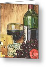 Red Wine And Cheese Greeting Card by Debbie DeWitt