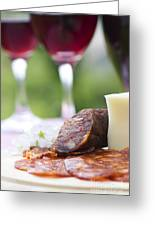 Red Wine And Sausage With Cheese Greeting Card by Mythja  Photography
